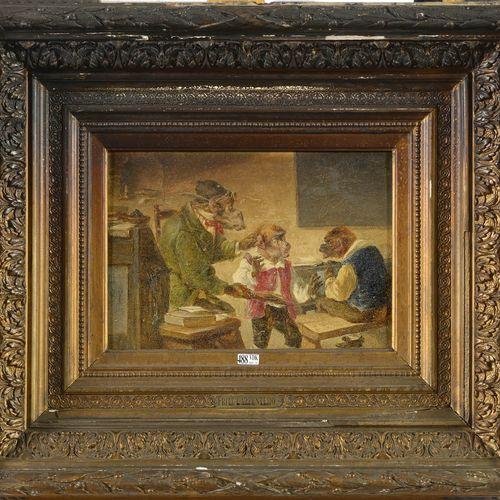 """CARPENTERO Fritz (1848 1914) Huile sur panneau d'acajou """"Les singes écoliers"""". P…"""