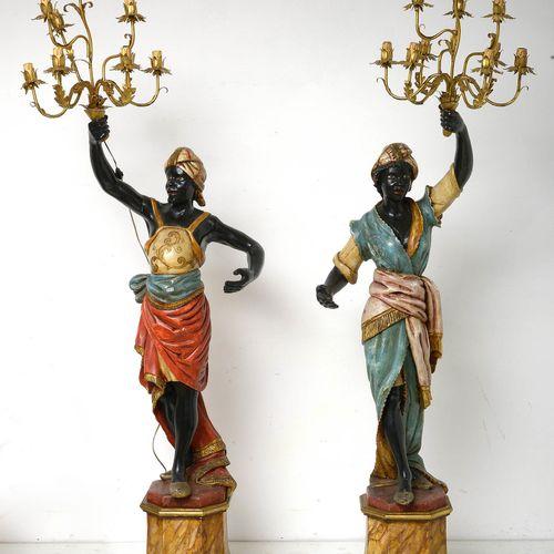"""""""Couple de nubiens"""" porte torchères en bois sculpté et polychromé à dix bras de …"""
