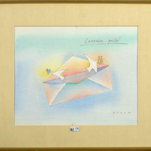 "FOLON Jean Michel (1934 2005) ""邮政邮件 ""纸上水彩画。署名右下角Folon。比利时的学校。附书:Merch, F., Demou…"