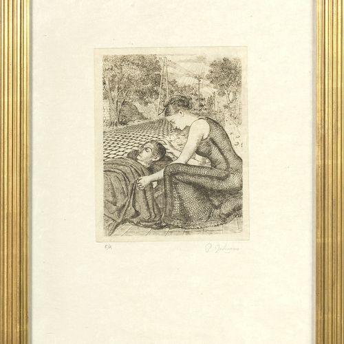 """DELVAUX Paul (1897 1994) """"Le blessé """"在Japon纸上的蚀刻画。版面外右下方有P. Delvaux的石墨签名,并标有 """"E/…"""