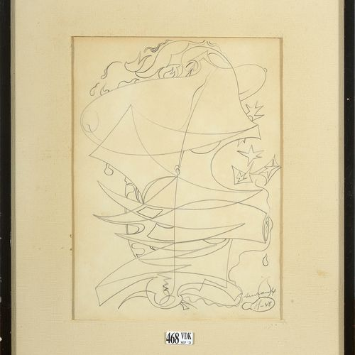 "SERVRANCKX Victor (1897 1965) ""组成 ""纸上石墨。右下角有Servranckx的签名和日期(19)48。比利时的学校。尺寸:+/ …"