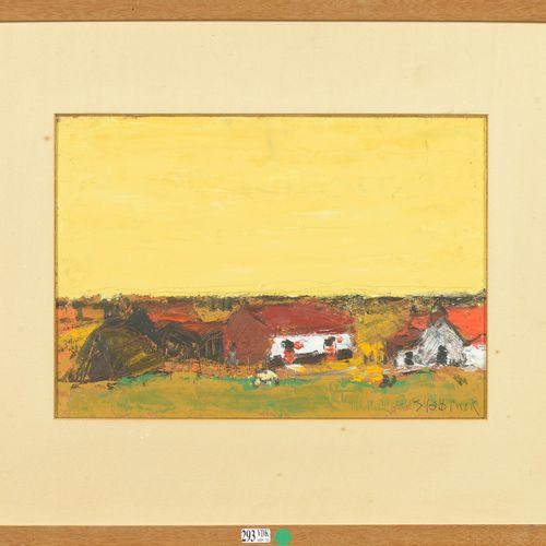 """SLABBINCK Rik (1914 1991) Huile sur carton """"Paysage aux fermettes"""". Signé en bas…"""