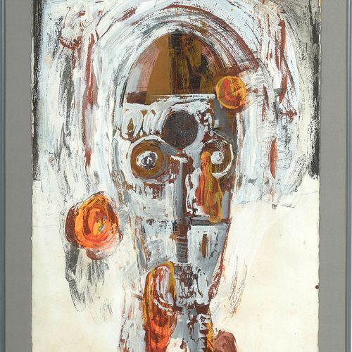 "CRETEN Johan (1963) ""面具 ""纸上混合技术,包括水粉、油彩、拼贴等。中上签有Johan Creten,日期为1/(19)88。比利时的学校。…"