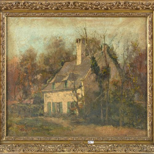 BASTIEN Alfred (1873 1955) 布面油画《艺术家的家》。左下角署名:A.巴斯蒂安。比利时的学校。请看背面,1997年Rouge Cloît…