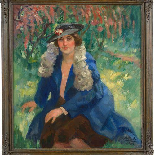 """CATY Charles (1868 1947) Huile sur toile """"Portrait d'une élégante au chapeau dan…"""