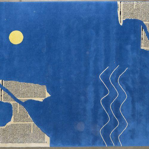 """E. D. (XXème) Tapis moderne en laine décoré """"D'Articles de grandes villes comme …"""
