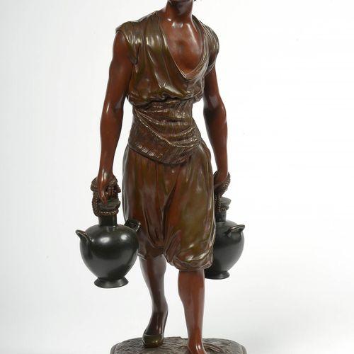 """DEBUT Marcel (1865 1933) """"Le porteur d'eau tunisien"""" en bronze à patine brune ro…"""