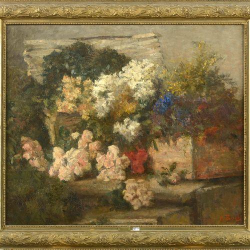 "BOCH Anna (1848 1936) 镶嵌在帆布上的油画 ""Cageot de fleurs""。右下角签有A.博奇。比利时的学校。插图见于艺术家的目录册第…"