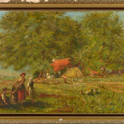 G.T. (XIXème) 镶嵌在画布上的油画《热闹的农场场景》。左下角有G.T.的字样。年代:19世纪。尺寸:+/ 100,5x131厘米。