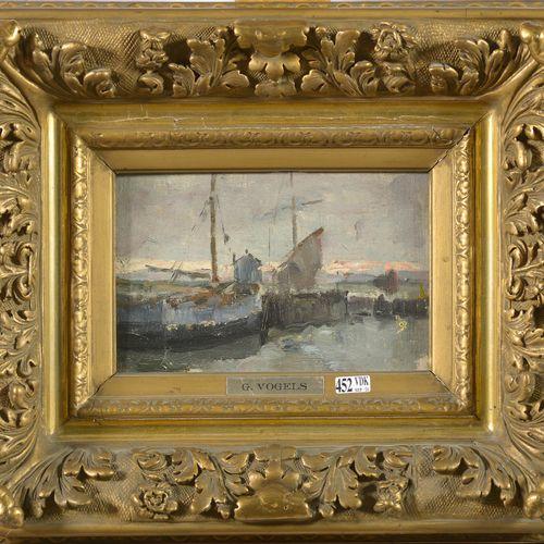 """VOGELS Guillaume (1836 1896) Huile sur toile marouflée sur panneau """"Vue sur le p…"""