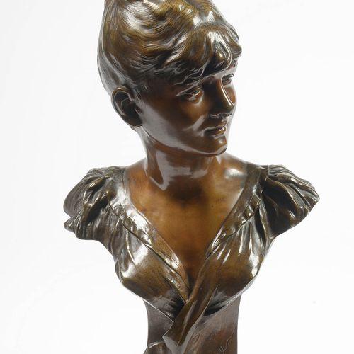 """NELSON pour VAN DEN KERCKHOVE Joseph Antoine (1849 ?) """"Mutine"""",青铜材质,有棕色铜锈。签名为A.V…"""