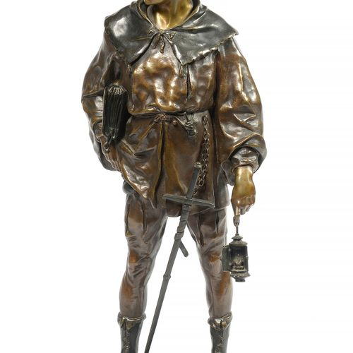 "PICAULT Emile Louis (1833 1915) ""一个14世纪的铜制Escholier,带有棕色的铜锈。签名:E.皮考特。法国的工作。高:+/ …"
