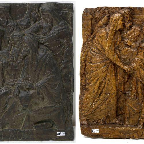 """LAMBEAUX Jef (1852 1908) Deux bas reliefs représentant """"Jésus parmi les scribes""""…"""