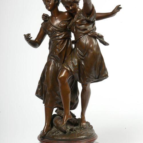 """DUMAIGE ÉTIENNE HENRI (1830 1888) """"舞蹈"""",铜制,有棕色铜锈。签名:H. Dumaige。搁置在一个格里特大理石底座上。法国学…"""