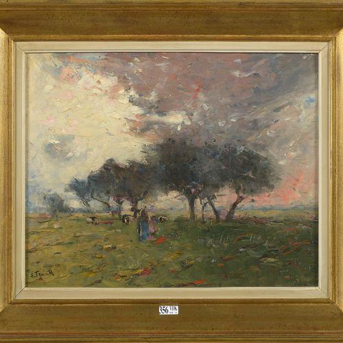 """FRANK Lucien (1857 1920) Huile sur panneau d'acajou """"Vachère et son troupeau au …"""