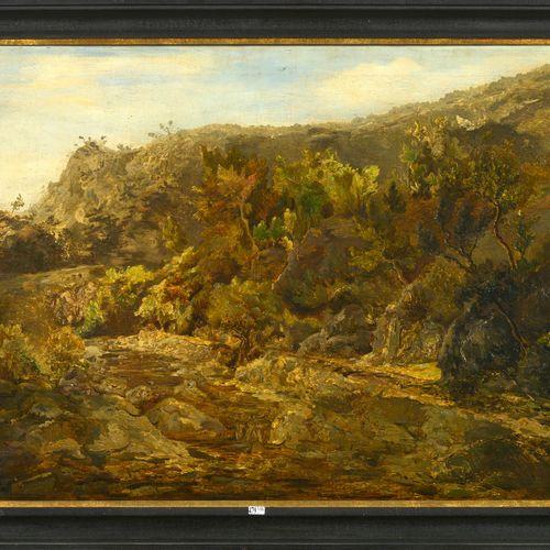 DE VIGNE Edouard (1808 1866). (?). 布面油画《有岩石的风景》。签名右下:Ed. De Vigne.比利时的学校。尺寸:+/ 7…