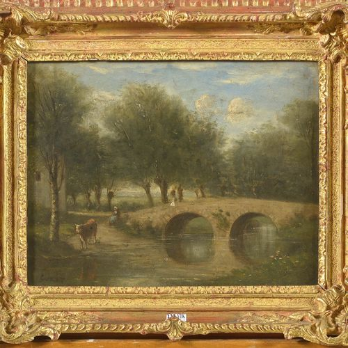 COROT Camille (1796 1875) 布面油画《桥脚下的农妇,河边的风景》。左下角署名:Corot。法国学校。(*).尺寸:+/ 30,7x39厘…