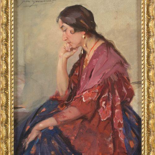 """GOUWELOOS Jean (1868 1943) Huile sur toile """"La belle espagnole"""". Signé en haut à…"""