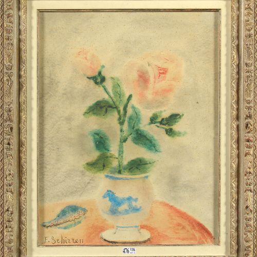 "SCHIRREN Ferdinand (1872 1944) ""Nature morte au vase de roses"" aquarelle sur pap…"