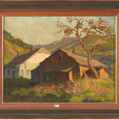 "VETCOUR Fernand (1908 2001) 布面油画 ""Soir à la Gleize""。右下角有签名F. Vetcour,背面有日期1933。比…"