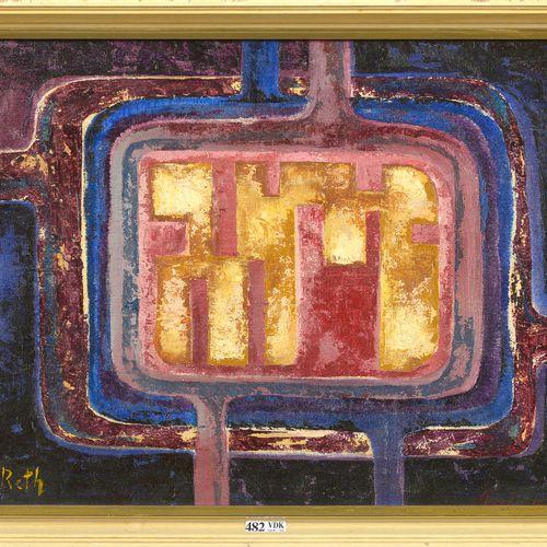 """RETH Alfred (1884 1966) Huile et sable sur toile """"Composition Arnlea 0677 (?)"""". …"""
