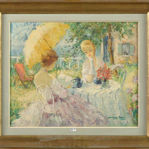 """AERS Marguerite (1918 1995) Huile sur toile """"Elégantes au jardin"""". Signé en bas …"""