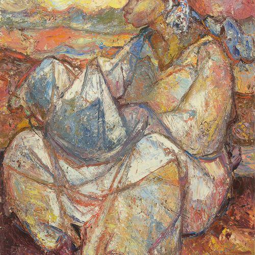 """MAVINGA Mankondo Ngwala (1937) Huile sur toile """"Jeune femme africaine assise"""". S…"""
