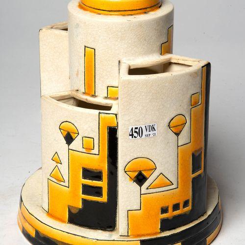 CATTEAU Charles (1880 1966) 博赫 凯拉米斯多色陶器的建筑形式的艺术花瓶,有7个开口,白底的几何三色装饰(Décor 1283)。作者…