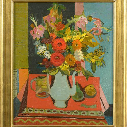 """CAMUS Gustave (1914 1984) Huile sur toile """"Nature morte au bouquet de fleurs"""". S…"""