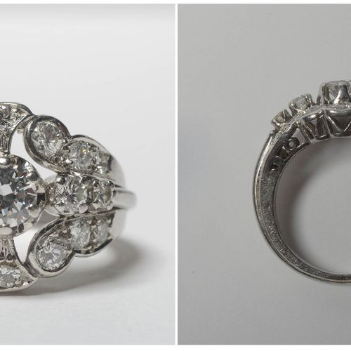 铂金戒指镶嵌老式切割钻石,总重量为+/ 1克拉。手指(公制):52。总重量:+/ 9.7gr。