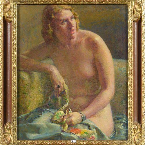 BURNSIDE Cameron (1887 1952) 布面油画《女性裸体坐姿》。右下角有签名C.伯恩赛德。美国学校。尺寸:+/ 73,5x60,5厘米。