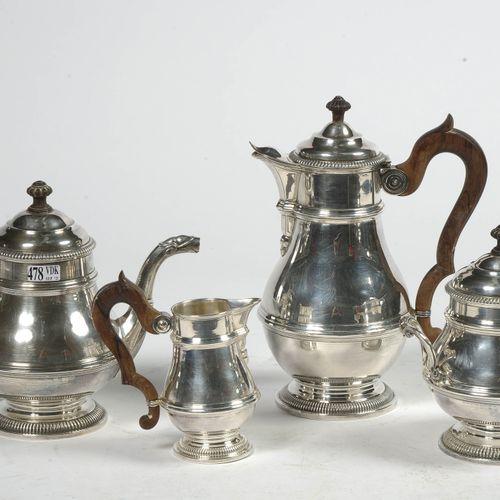 Service à thé et à café quatre pièces en argent 950/1000ème comprenant: une théi…
