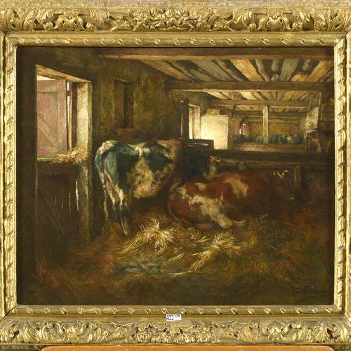 """STOBBAERTS Jan (1838 1914) Huile sur panneau d'acajou """"Vaches à l'étable"""". Signé…"""