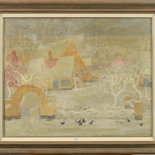 """MONTALD Constant (1862 1944) Huile sur toile marouflée sur toile """"Vue d'un villa…"""