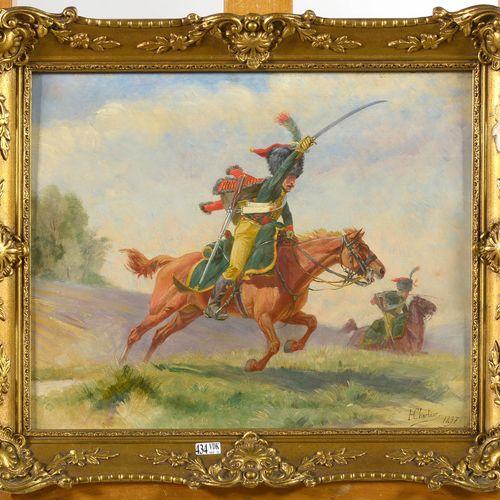 CHARTIER Henri Georges (1859 1924) 油画《La charge des Hussards》。右下方有签名H.夏蒂埃,日期为189…