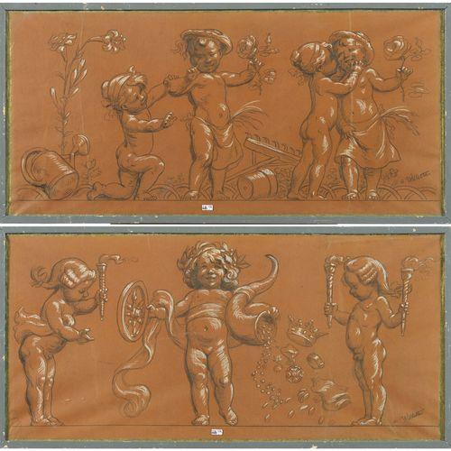 "WILLETTE Adolphe Léon (1857 1926) 棕色纸上的炭笔和白粉笔 ""普提的漫画 田间劳动和丰收的寓言 ""楣板一对。右下角签有A.威利特…"