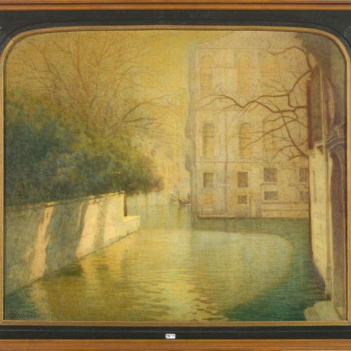 "BINARD Henri (1862 ?) Huile sur toile ""Venise"". Signé en bas à gauche H. Binard.…"