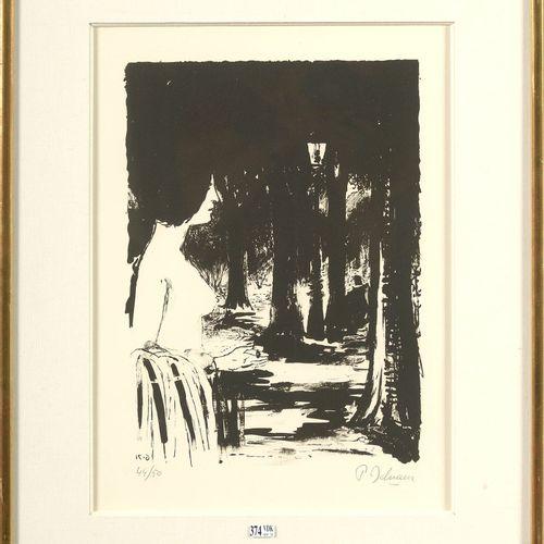 """DELVAUX Paul (1897 1994) """"La forêt"""" lithographie en noir et blanc sur papier. Si…"""