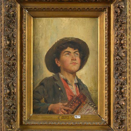 """BOUROTTE AUGUSTE (1853 1940) Huile sur panneau d'acajou """"Un petit sou"""". Signé ve…"""