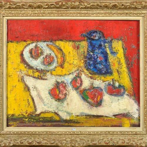 """LEVE André (1917) Huile sur toile """"Nature morte à la cruche bleue et aux fruits""""…"""