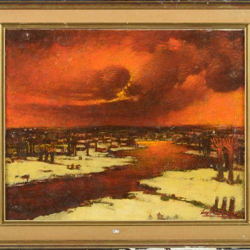 """SCHELCK Maurice (1906 1987) 镶嵌在画布上的油彩 """"莱斯河的冬季风景""""。签名右下:Schelck。比利时的学校。尺寸:+/ 80x10…"""