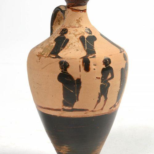 """""""Lécythe"""" en terre cuite à figures noires décoré sur deux niveaux de frise de """"C…"""