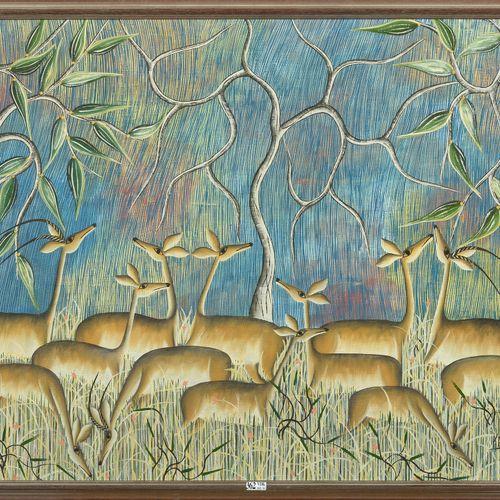 "KANYEMBA Louis (1937) 布面油画 ""Les gazelles""。右下角有Kanyemba的签名和1980年的日期。刚果的伊丽莎白维尔学校。尺…"