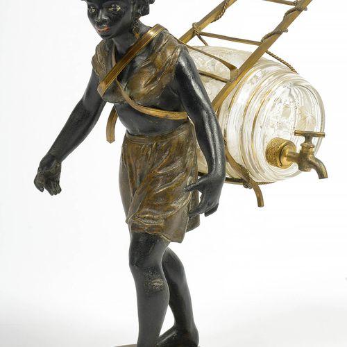 """""""Nubienne"""" porte fontaine en fonte polychrome peinte à froid à monture en bronze…"""