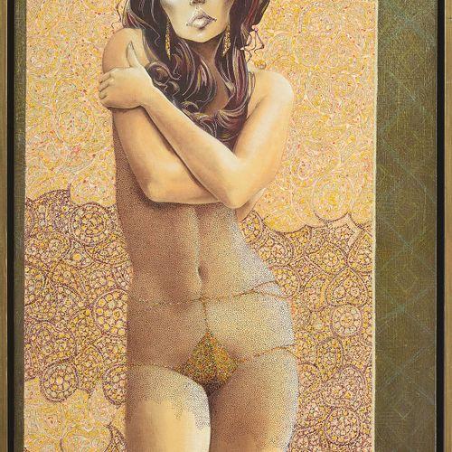 LE MOULT Christian (1941) 布面油画《女性裸体》。签名右下:Le Moult。比利时的学校。尺寸:+/ 110x69,5cm。
