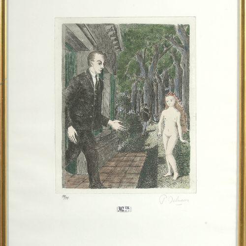 """DELVAUX Paul (1897 1994) """"La mort en chemin"""" eau forte aquarellée sur papier Riv…"""