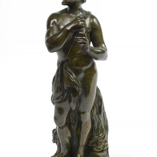 """青铜制的 """"潘"""",带有绿色铜锈。匿名。带有布鲁塞尔青铜器公司的标记。年代:20世纪初。(缺少一个)。高:+/ 26.5厘米。"""