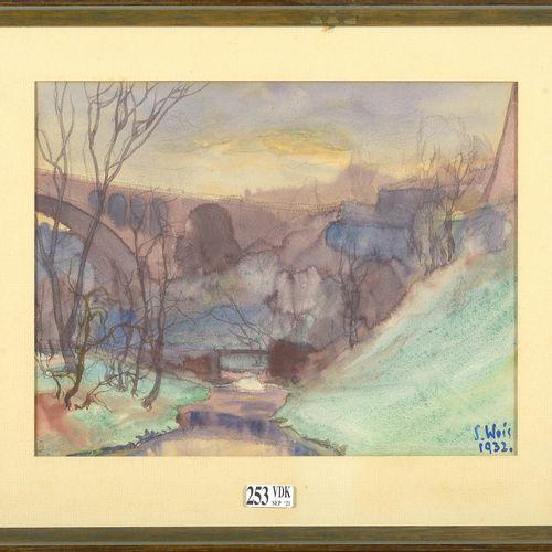 """WEIS Sosthène (1872 1941) """"Vue d'un pont à Luxembourg"""" mine de plomb et aquarell…"""