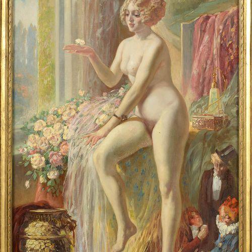 """TYTGAT Médard (1871 1948) Huile sur toile """"Frivolité"""". Signé en bas à gauche Md.…"""