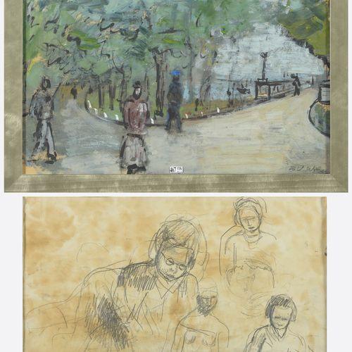 """WOLVENS Henri Victor (1896 1977) """"La promenade au parc"""" gouache sur papier. Sign…"""